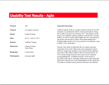 usability report This paper reports from an exploratory study of means for providing feedback from a usability evaluation to the user interface designers in this study, we conducted a usability evaluation of a.